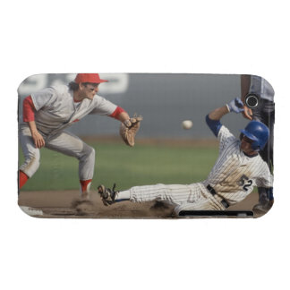 Baseball player sliding into third base with iPhone 3 case