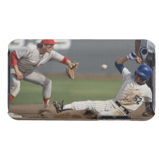 Baseball player sliding into third base with iPod touch covers