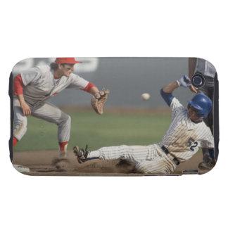 Baseball player sliding into third base with tough iPhone 3 case