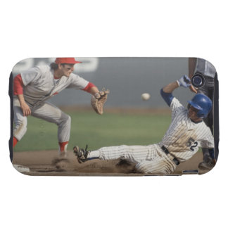 Baseball player sliding into third base with tough iPhone 3 cover