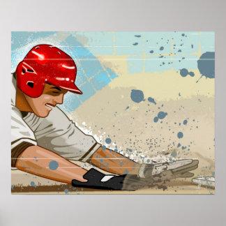 Baseball Player Sliding Poster