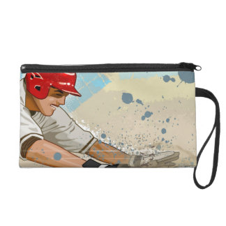 Baseball Player Sliding Wristlet Purse