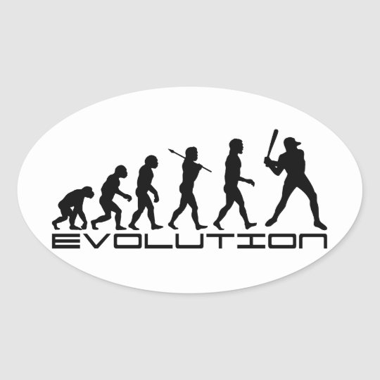 Baseball Player Sport Evolution Art Oval Sticker