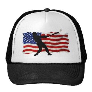 Baseball Player Sports Ball Game USA Flag Trucker Hat