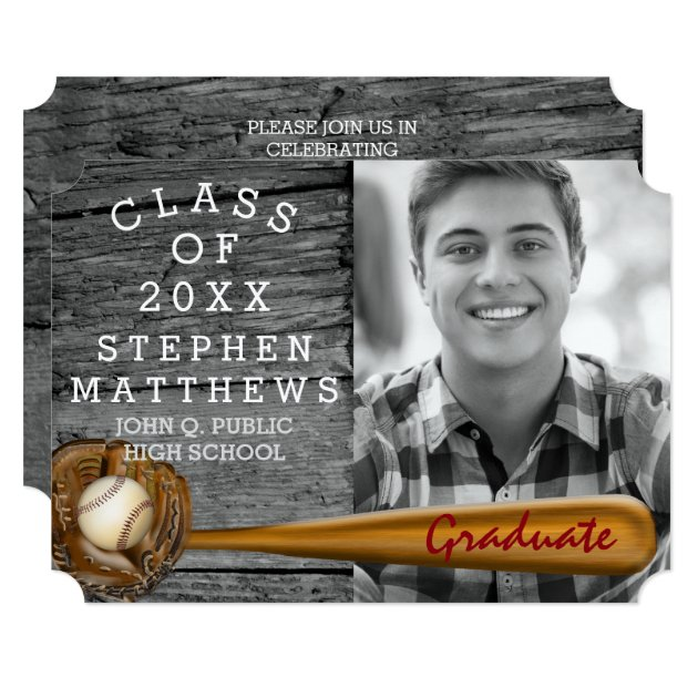 Baseball Player Sports Rustic Photo Graduation Card