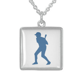 BASEBALL PLAYER STERLING SILVER NECKLACE