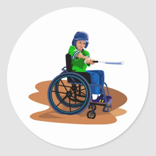 Baseball Player Round Stickers