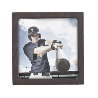Baseball player swinging baseball bat 2 gift box