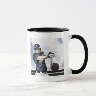 Baseball player swinging baseball bat 2 mug