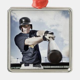 Baseball player swinging baseball bat 2 square metal christmas ornament