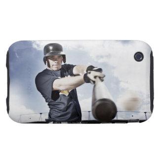 Baseball player swinging baseball bat 2 tough iPhone 3 cover