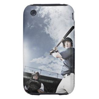 Baseball player swinging baseball bat iPhone 3 tough case