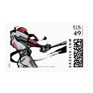 Baseball player swinging bat, side view postage stamp