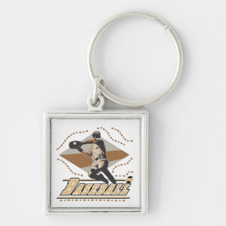 Baseball Player T-shirts and Gifts Silver-Colored Square Keychain