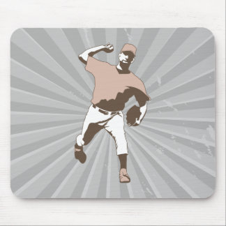 baseball player throwing vector graphic mouse pad