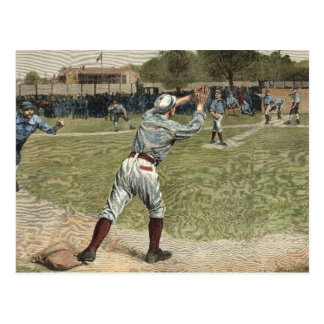 Baseball Player Thrown Out at Second Base Postcard