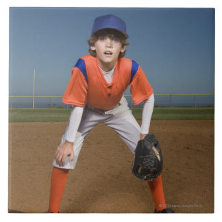 Baseball player large square tile