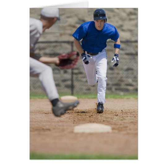 Baseball player trying to steal base card