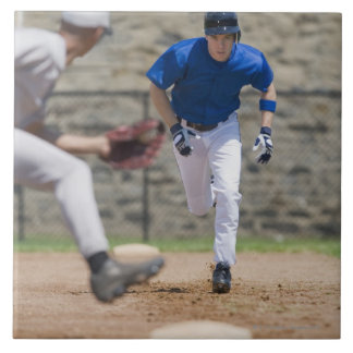 Baseball player trying to steal base ceramic tile