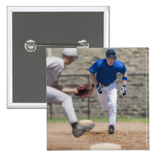 Baseball player trying to steal base pinback button
