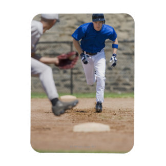 Baseball player trying to steal base vinyl magnet