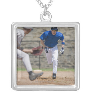 Baseball player trying to steal base square pendant necklace