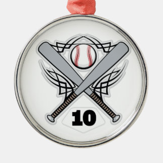 Baseball Player Uniform Number 10 Metal Ornament