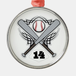 Baseball Player Uniform Number 14 Metal Ornament
