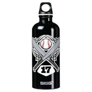 Baseball Player Uniform Number 17 Aluminum Water Bottle