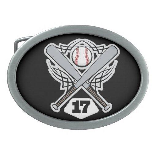 Baseball Player Uniform Number 17 Oval Belt Buckle
