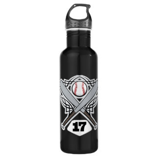 Baseball Player Uniform Number 17 Stainless Steel Water Bottle