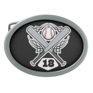 Baseball Player Uniform Number 18 Oval Belt Buckle