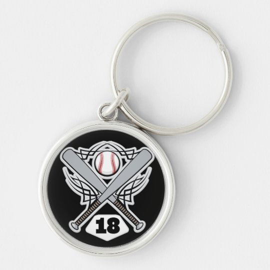 Baseball Player Uniform Number 18 Keychain