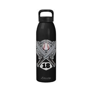 Baseball Player Uniform Number 18 Water Bottle