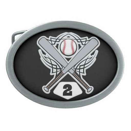 Baseball Player Uniform Number 2 Belt Buckle