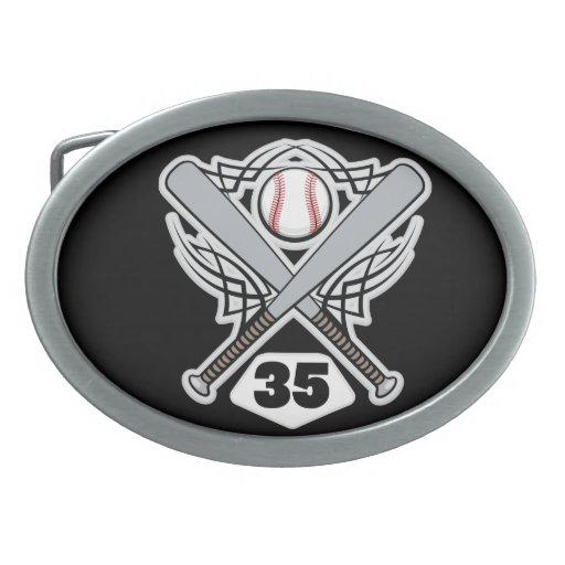 Baseball Player Uniform Number 35 Oval Belt Buckle