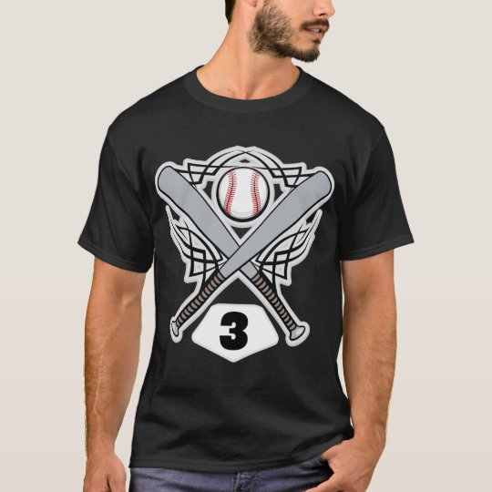 Baseball Player Uniform Number 3 T-Shirt