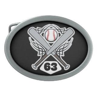 Baseball Player Uniform Number 63 Belt Buckle