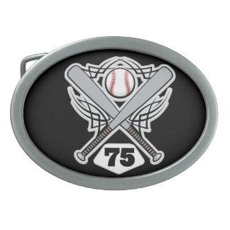 Baseball Player Uniform Number 75 Oval Belt Buckle