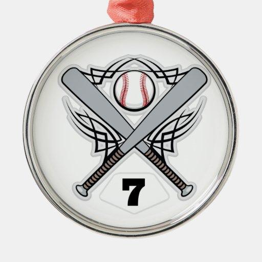 Baseball Player Uniform Number 7 Christmas Tree Ornaments