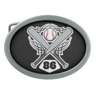 Baseball Player Uniform Number 86 Oval Belt Buckle