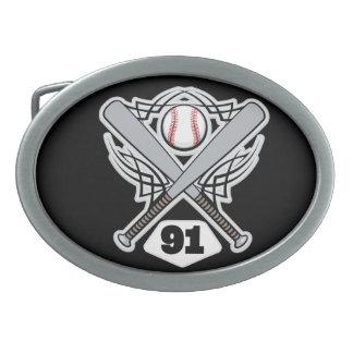 Baseball Player Uniform Number 91 Oval Belt Buckle