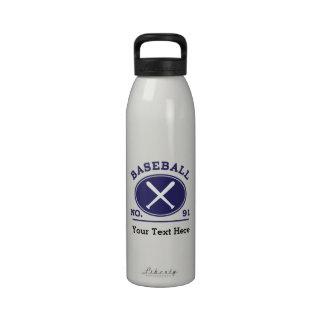 Baseball Player Uniform Number 91 Gift Idea Water Bottles