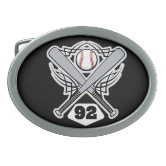 Baseball Player Uniform Number 92 Oval Belt Buckle