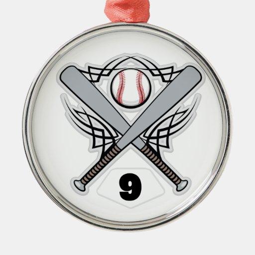 Baseball Player Uniform Number 9 Christmas Tree Ornaments