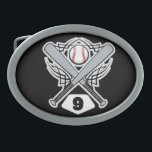 "Baseball Player Uniform Number 9 Oval Belt Buckle<br><div class=""desc"">This fun baseball player uniform number 9 makes a great gift idea for a baseball player who wears the number 9 on their uniform.</div>"