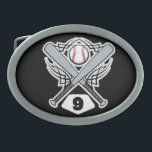 "Baseball Player Uniform Number 9 Oval Belt Buckle<br><div class=""desc"">This fun baseball player uniform number 9 makes a great gift idea for a baseball player who wears the number 9 on their uniform.</div>"
