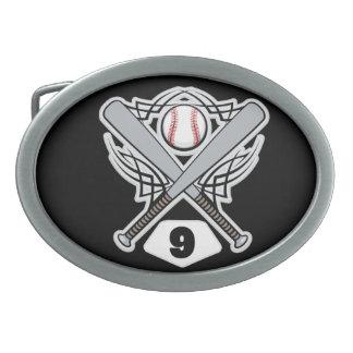 Baseball Player Uniform Number 9 Oval Belt Buckle