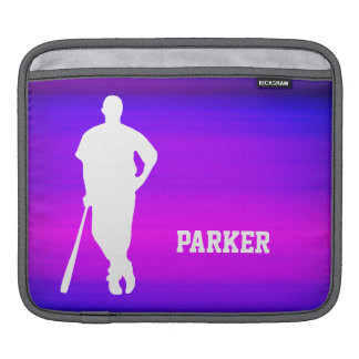 Baseball Player; Vibrant Violet Blue and Magenta iPad Sleeve
