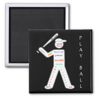 Baseball Player with Motivational Words Magnet